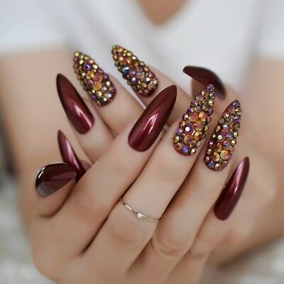3D Rhinestone Stiletto Press On Nails Extra Long Wine Red UV Gel False Nail Tips