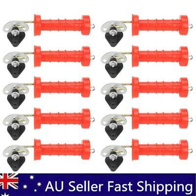10 Farm Gate Handle With Spring Electric Fence Tape Wire Cord +10 Pcs Insulators