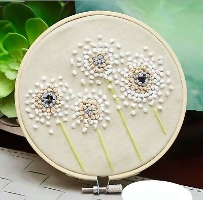Dandelion finished embroidery piece with hoop linen flower needlework home decor