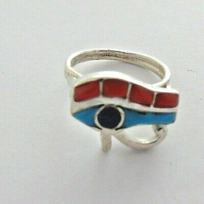 Eye of Horus Silver Ring inlaid with Turquoise, Red Coral , Lapis (Hallmarked)