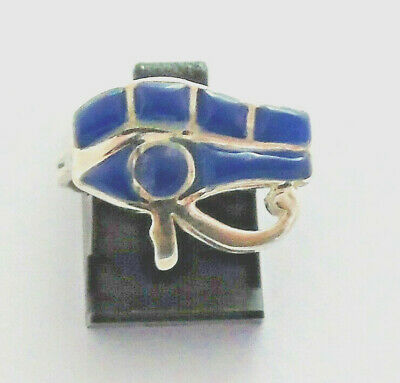 Eye of Horus Silver Ring inlaid with Lapis Lazuli (Hallmarked)