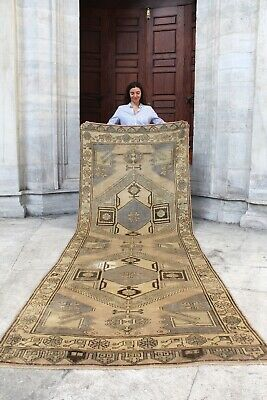"Antique Handmade Vintage Anatolian Konya Tribal Carpet Area Rug 11'2"" x 4'1"""