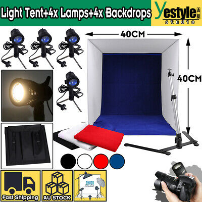 Photography LED Light Tent+4 Color Backdrop+4x Lamps Stand Studio Light Room Box