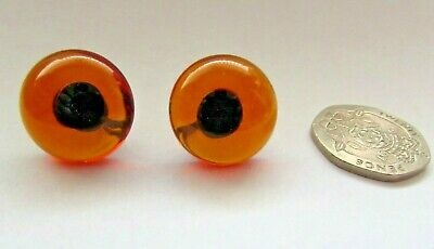 18mm Teddy Bear Glass Eyes Amber Brown with Black Pupils wire loop Top Quality