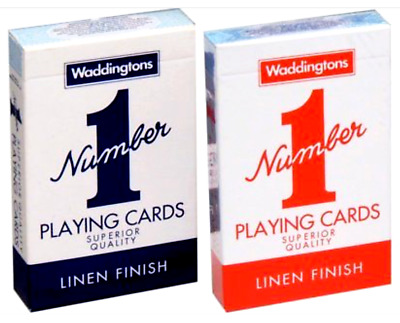 New Decks Waddingtons No1 Classic Playing Cards Red & Blue UK