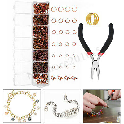 Metal Jump Rings Lobster Clasp + Pliers Tool Set DIY Jewelry Making Findings Kit