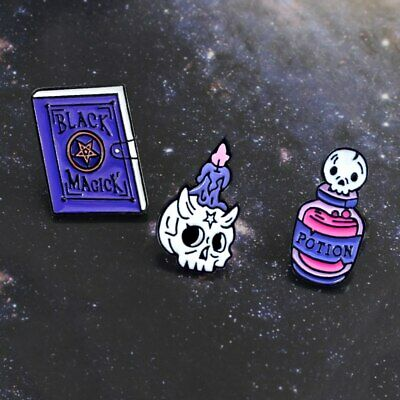 Lot 3 Pin Gothic Brooch Witch Book Candle Potion Sorcery Pin's Broche Gothique