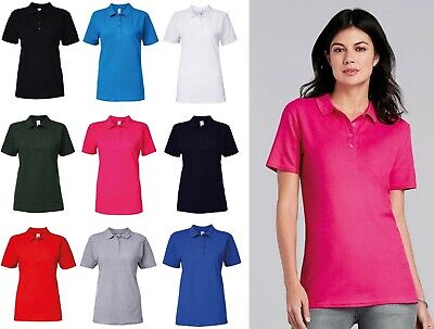 Womens Polo Shirt Gildan Softstyle Adult Double Piqué Ladies Polo Top GD018