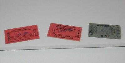 3 x VINTAGE NSW RAILWAYS CARDBOARD TRAIN TICKETS~ 1958 WEEKLY & 1980'S PENSIONER