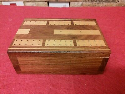 Vintage Mixed Wooden Inlayed Cribbage Board Box    Fabulous Condition