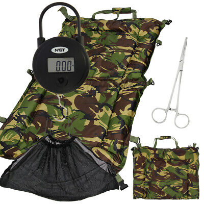 Camo DPM Carp Fishing Unhooking Beanie Landing Mat Sling Set With Digital Scale