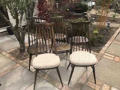 Six Ercol 369 Windsor Goldsmith Retro dining chairs Two with original cushions