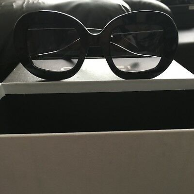 fe049857dfe05 Oversized Round Chanel Black Sunglasses With Box And Case Excellent  Condition