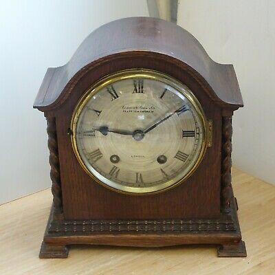 Vintage Deco Antique Solid Wood Carriage Mechanical Mantel Clock Key REPAIRS 9B