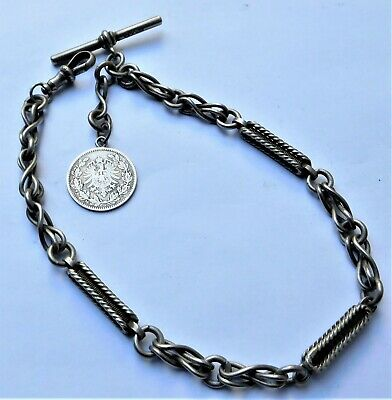NO RESERVE c1910 Silver Plated Fancy Watch Chain Vintage Antique