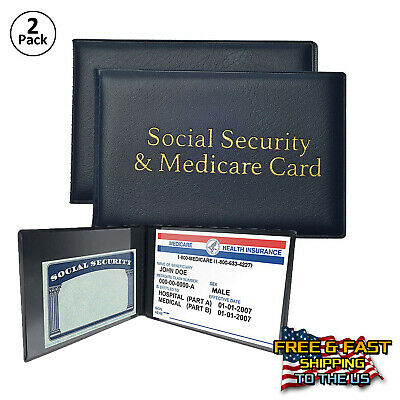 Social Security and Medicare Card Protector with 2 Clear Sleeves, Blue, 2-PACK