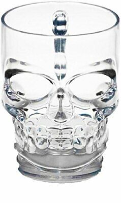 Circleware 76980 Skull Face Beer Mug Drinking Glasses with Handle, Set of 2, Hea