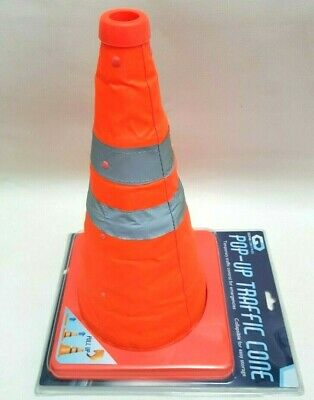 ROAD TRAFFIC WARNING CONE 2 x POP UP COLLAPSIBLE SAFETY  car van caravan motor