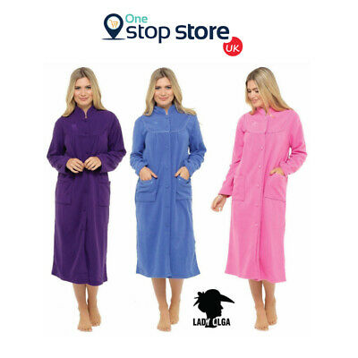 LADIES BUTTON THROUGH FLEECE DRESSING GOWN ROBE HOUSECOAT BY LADY OLGA Up to 3XL