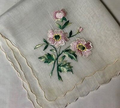 "Early Vintage Gorgeous Pink Flowers Handkerchief  Scalloped Edges 12 3/4""SQ"