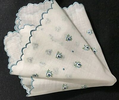 Early Vintage Gorgeous Small Blue Flowers Handkerchief Button-hole Stitch Hem