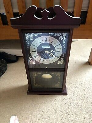 Vintage Acctim 31 Day Wooden Wall Pendulum Clock with Key in good working order