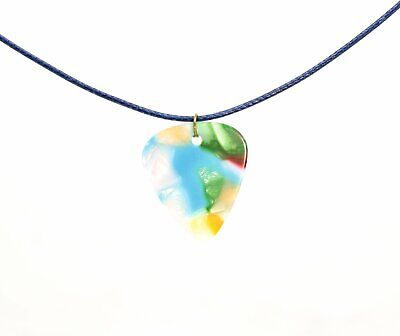 Blue Marble Guitar Pick Necklace Vegan Friendly Thong Gift Idea For Guitarist