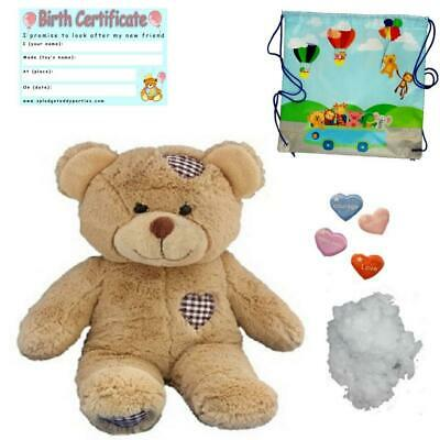 "BROWN PATCH BEAR -  16""/40cm - BUILD A TEDDY BEAR MAKING KIT - NO SEW"