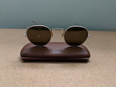 Vintage Antique Etched Design Wire Rim Frame Sunglasses With Case