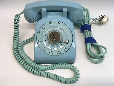 Vintage Western Electric 500 Aqua BLUE Rotary Dial Desk Phone Bell System 1958