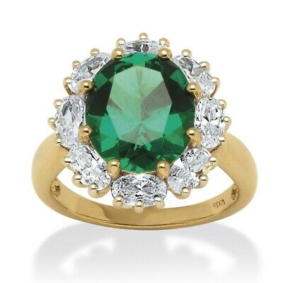 Lab-Created Emerald 18k Gold over .925  Silver Halo Ring
