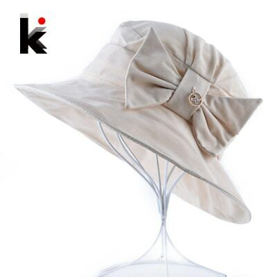 Women's Summer Cotton Sun Cap Female Solid Bow-knot Bucket Hat Outdoor Anti-UV