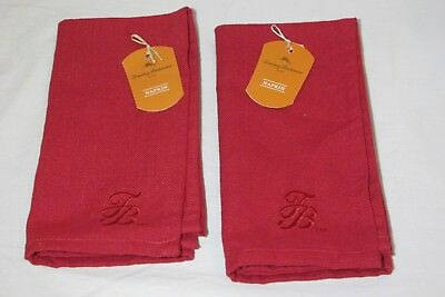 New Tommy Bahama Set of Four Napkins Seafoam Blue Tweed Embroidered TB Logo New