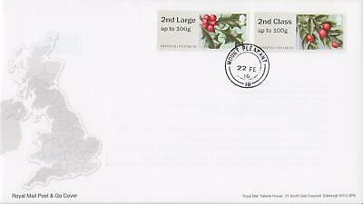 GB 2016 (22nd Feb) Flora Post & Go Stamps on Royal Mail Cover (FDC?)