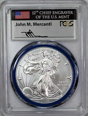 2018 W Burnished Silver Eagle PCGS SP70 First Day Issue Mercanti Mint Engraver