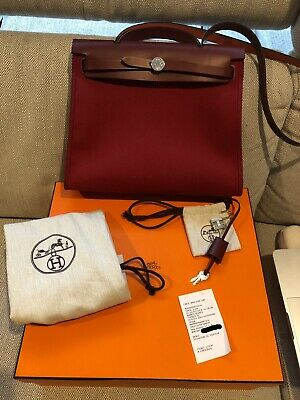 fd39117cc1 NEW! AUTHENTIC HERMES Herbag Zip Canvas Rouge Tomato RED 39cm PM ...