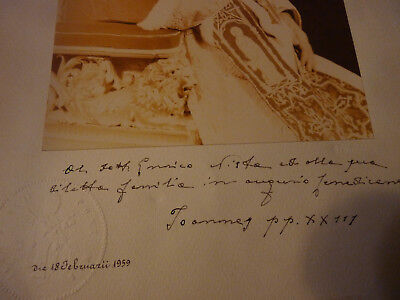 early 1959 signed Saint Pope John XXIII papal blessing - relic benediction -seal
