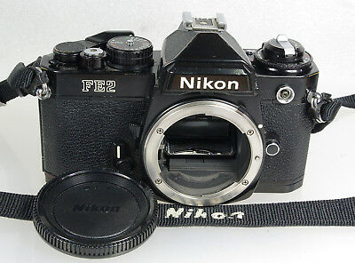 Classic Black Nikon FE2 Manual 35mm SLR, Works, Film Tested HAS ISSUES READ DESC