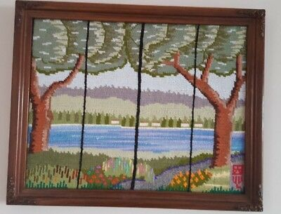 Vintage Lake Arrowhead Completed Needlepoint Lake Scene Framed