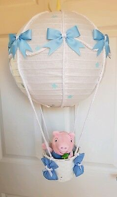 Hot air balloon light shade blue with George pig  looks stunning nursery x