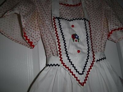 Vintage handmade girl's  dress with pinafore/apron Aprrox. size 12