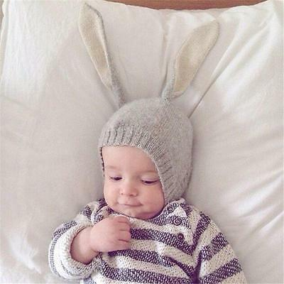 Fashion Baby Kids Wool Knitted Hat With Rabbit Long Ears Floppy Cute Beanie Caps