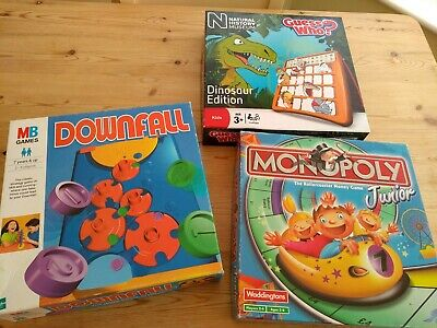 3 x Junior Board Games 4 kids Monopoly Downfall Guess Who Dinosaurs