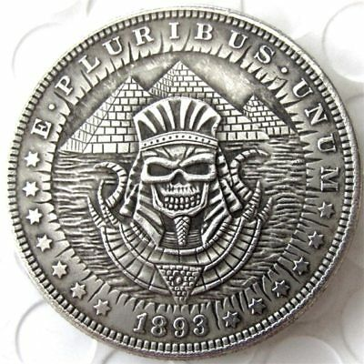 ART-Hobo COIN 1893 Morgan Dollar skull zombie skeleton Pyramids -60