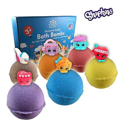 6 Bath Bombs Kit Set for Kids and Teens with SHOPKINS Mini Toys inside each bomb