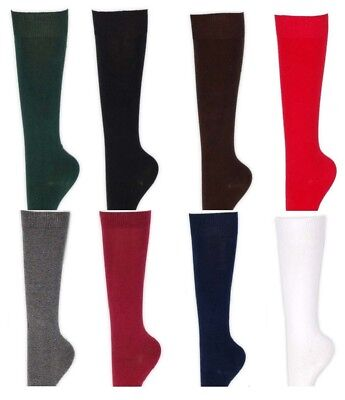 Girls Ladies Kids Back To School Plain Knee High Long Socks 80% Cotton Uniform