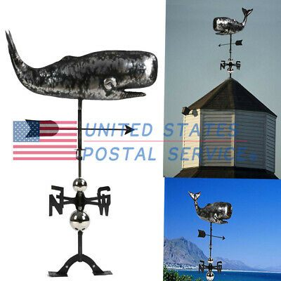 3D Stainless Steel Cruising Whale Weathervane Hand-Made Crafted For Yard Garden