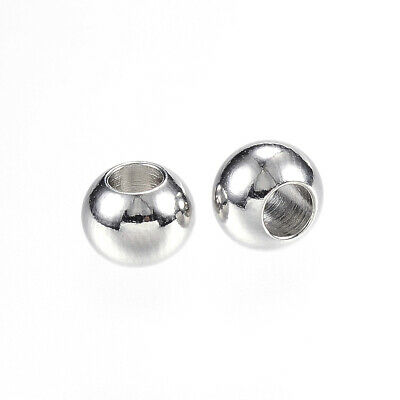 100x 304 Stainless Steel Metal Bead Smooth Rondelle Spacer Loose Beads 6mm