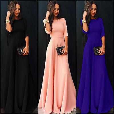 Womens Chiffon 3/4 Sleeve Long Formal Party Solid Evening Ball Gown Maxi Dress