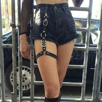 Sexy Metal Leg Chain Punk Style Leg Ring Flexible Leather Belt Women Accessories